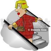 Woman Going Up an Escalator in a Shopping Mall Clipart Picture © djart #5946