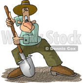 Man Digging Dirt with a Round Point Shovel Clipart Picture © djart #5948