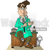 Male Doctor Sitting On His Desk While Talking Clipart Picture © Dennis Cox #5952