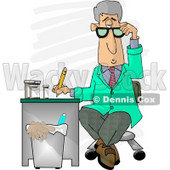 Medical Doctor Taking Notes While Sitting at a Desk in a Hospital Clipart Picture © Dennis Cox #5956