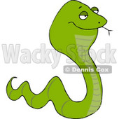 Venomous Green Snake Tasting the Air with its Tongue Clipart Picture © Dennis Cox #5959