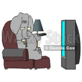 Human-like Elephant Watching TV and Drinking Beer Clipart Picture © djart #5960