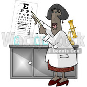 African American Female Eye Doctor Pointing at an Eye Chart Clipart Picture © djart #5963