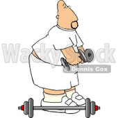 Bald Man Lifting Weights at a Gym Clipart Picture © djart #5965