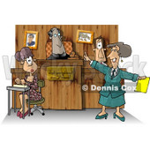 Judge, Witness, Stenographer, and Lawyer in a Courtroom Clipart Picture © djart #5966