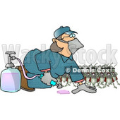 Humorous Bugs Watching a Pest Control Exterminator Test a Chemical Pesticide Substance Clipart Picture © Dennis Cox #5967