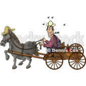 Horse Pulling a Farmer On a Wagon Clipart Picture © Dennis Cox #5970
