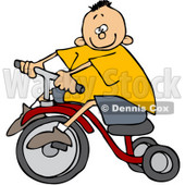 Royalty-Free (RF) Clipart Illustration of a Little Boy In A Yellow Shirt, Riding A Tricycle © Dennis Cox #59711