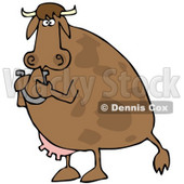 Royalty-Free (RF) Clipart Illustration of a Brown Cow Standing Up And Holding A Horseshoe © djart #59713