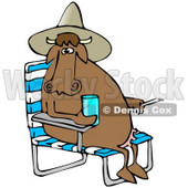Royalty-Free (RF) Clipart Illustration of a Brown Cow Sitting In A Chair, Wearing A Hat And Holding A Drink © Dennis Cox #59714