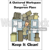 Royalty-Free (RF) Clipart Illustration of a Woman In A Cluttered Cubical © Dennis Cox #59722