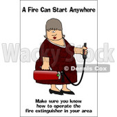 Royalty-Free (RF) Clipart Illustration of a Lady Carrying A Fire Extinguisher © djart #59727