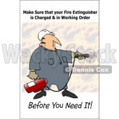Royalty-Free (RF) Clipart Illustration of a Worker Man Operating A Fire Extinguisher  © djart #59728