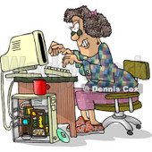 Female Computer Hacker Typing On a Keyboard Clipart Picture © Dennis Cox #5973