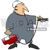Royalty-Free (RF) Clipart Illustration of an Industrial Worker Man Preparing To Use A Fire Extinguisher © djart #59731