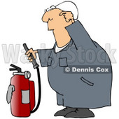 Royalty-Free (RF) Clipart Illustration of an Industrial Worker Trying To Use A Fire Extinguisher © djart #59732