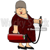 Royalty-Free (RF) Clipart Illustration of a Middle Aged Woman Holding A Fire Extinguisher © djart #59733