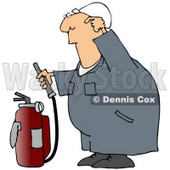 Royalty-Free (RF) Clipart Illustration of an Industrial Worker Trying To Figure How To Use A Fire Extinguisher © djart #59734