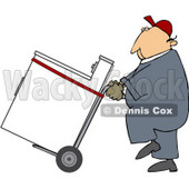 Royalty-Free (RF) Clipart Illustration of a Worker Man Delivering A Dryer On A Dolly © djart #59736