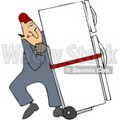 Royalty-Free (RF) Clipart Illustration of a Worker Man Delivering A Refrigerator On A Dolly © djart #59737