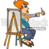 Female Painter Sitting Behind a Canvas While Holding Her Thumb Up Clipart Picture © djart #5974