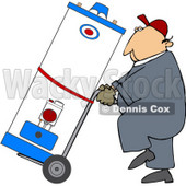 Royalty-Free (RF) Clipart Illustration of a Worker Man Delivering A Water Heater On A Dolly © djart #59740