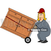 Royalty-Free (RF) Clipart Illustration of a Worker Woman Delivering A Dresser On A Dolly © djart #59742