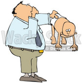 Royalty-Free (RF) Clipart Illustration of a Dad Holding Out His Baby In A Stinky Diaper © djart #59743