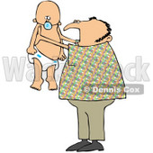Royalty-Free (RF) Clipart Illustration of a Dad Proudly Holding Up His Baby © djart #59746