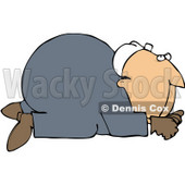 Royalty-Free (RF) Clipart Illustration of a Scared Worker Man Crawling On All Fours © Dennis Cox #59748