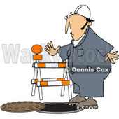 Royalty-Free (RF) Clipart Illustration of a Male Worker Nearly Falling Into A Man Hole © Dennis Cox #59749
