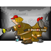Man and Woman During a Fire Investigation Clipart Picture © djart #5975