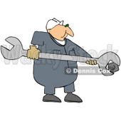 Royalty-Free (RF) Clipart Illustration of a Male Worker Using A Giant Wrench © djart #59750