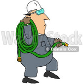 Royalty-Free (RF) Clipart Illustration of a Worker Man Carrying A Green Hose © djart #59752