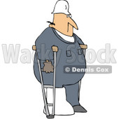 Royalty-Free (RF) Clipart Illustration of an Injured Male Worker Using Crutches © djart #59756