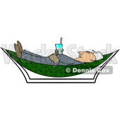 Royalty-Free (RF) Clipart Illustration of a Male Worker Holding A Beverage And Relaxing In A Hammock © Dennis Cox #59759