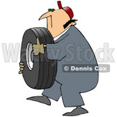 Royalty-Free (RF) Clipart Illustration of a Mechanic Carrying A Heavy Tire © djart #59765