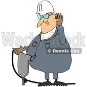 Royalty-Free (RF) Clipart Illustration of a Male Worker Cupping His Ear And Operating A Jackhammer © Dennis Cox #59767