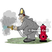 Fireman Spraying Water from a Hose Attached to a Fire Hydrant Clipart Picture © djart #5977
