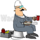 Royalty-Free (RF) Clipart Illustration of a Male Worker Sitting On A Pail And Eating A Sandwich At Break Time © djart #59770