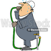 Royalty-Free (RF) Clipart Illustration of a Thirsty Worker Man Gulping Hose Water © Dennis Cox #59772
