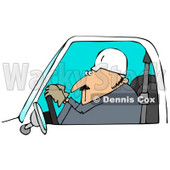 Royalty-Free (RF) Clipart Illustration of a Male Worker Glancing While Driving A Work Vehicle © djart #59777
