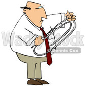 Royalty-Free (RF) Clipart Illustration of a Businessman Holding A Giant Paper Clip © Dennis Cox #59779
