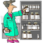 Female Pharmacist Restocking the Shelves with Bottles of Medicine and Drugs Clipart Picture © djart #5978
