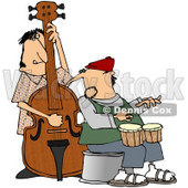 Royalty-Free (RF) Clipart Illustration of a Jazz Group Playing A Bass And Bongos © Dennis Cox #59780