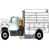 Royalty-Free (RF) Clipart Illustration of a Male Mechanic Repairing An Industrial Truck © djart #59783
