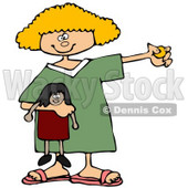Royalty-Free (RF) Clipart Illustration of a Blond Girl Holding A Doll And Coin © djart #59785