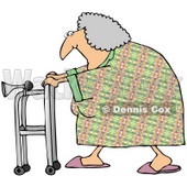 Royalty-Free (RF) Clipart Illustration of a Granny Walking By With Her Walker © Dennis Cox #59786