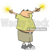 Royalty-Free (RF) Clipart Illustration of a Chubby Man Holding Out Sparklers © djart #59787