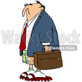 Royalty-Free (RF) Clipart Illustration of a Businessman In Colorful Shorts, Carrying A Bag © djart #59788
